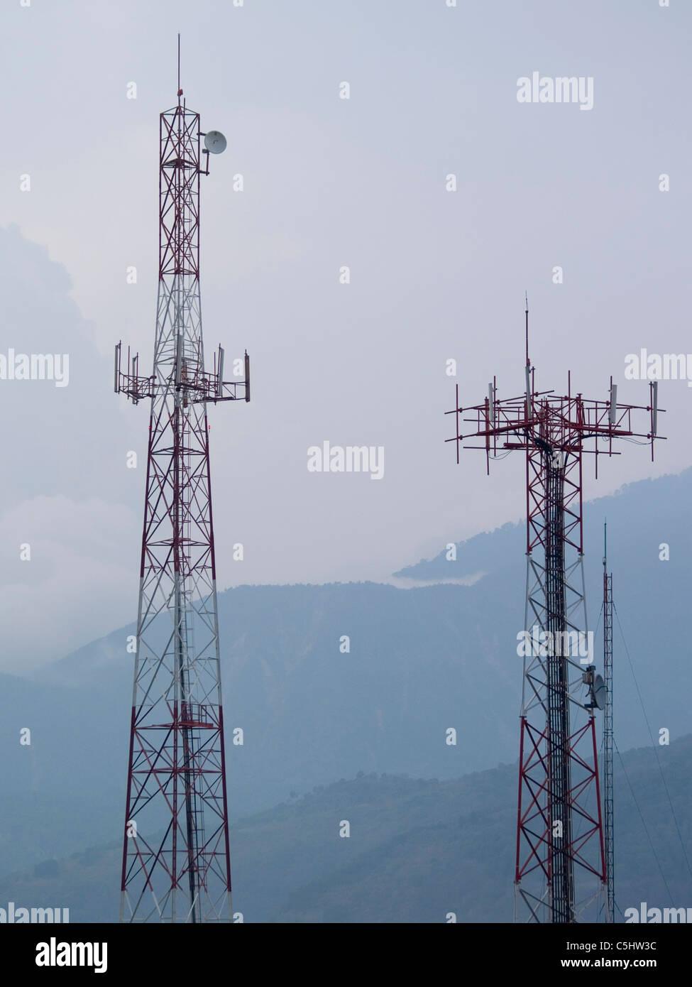 Cellphone towers in Santiago Atitlan, Guatemala - Stock Image