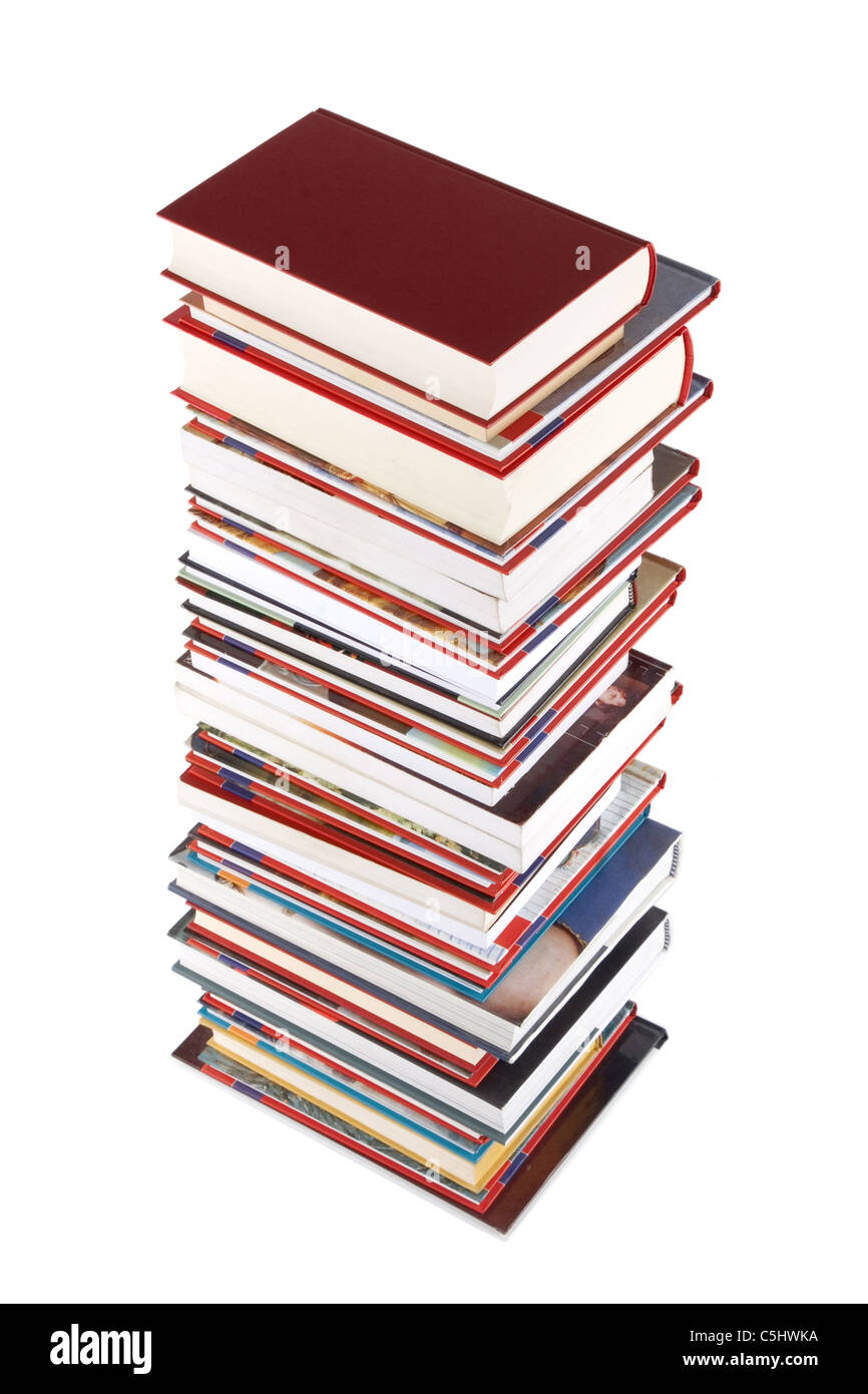 High books stack isolated on white background, wisdom and knowledge concept - Stock Image