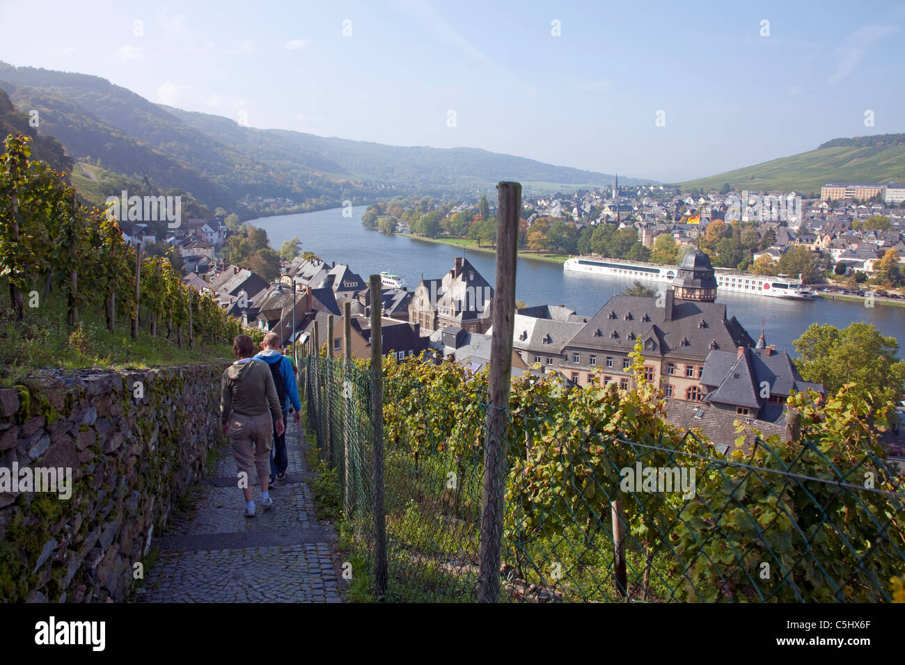 Blick von einem Wanderweg auf Mosel und Moseltal, View from a hiker trail over the Mosel valley and the river Moselle - Stock Image