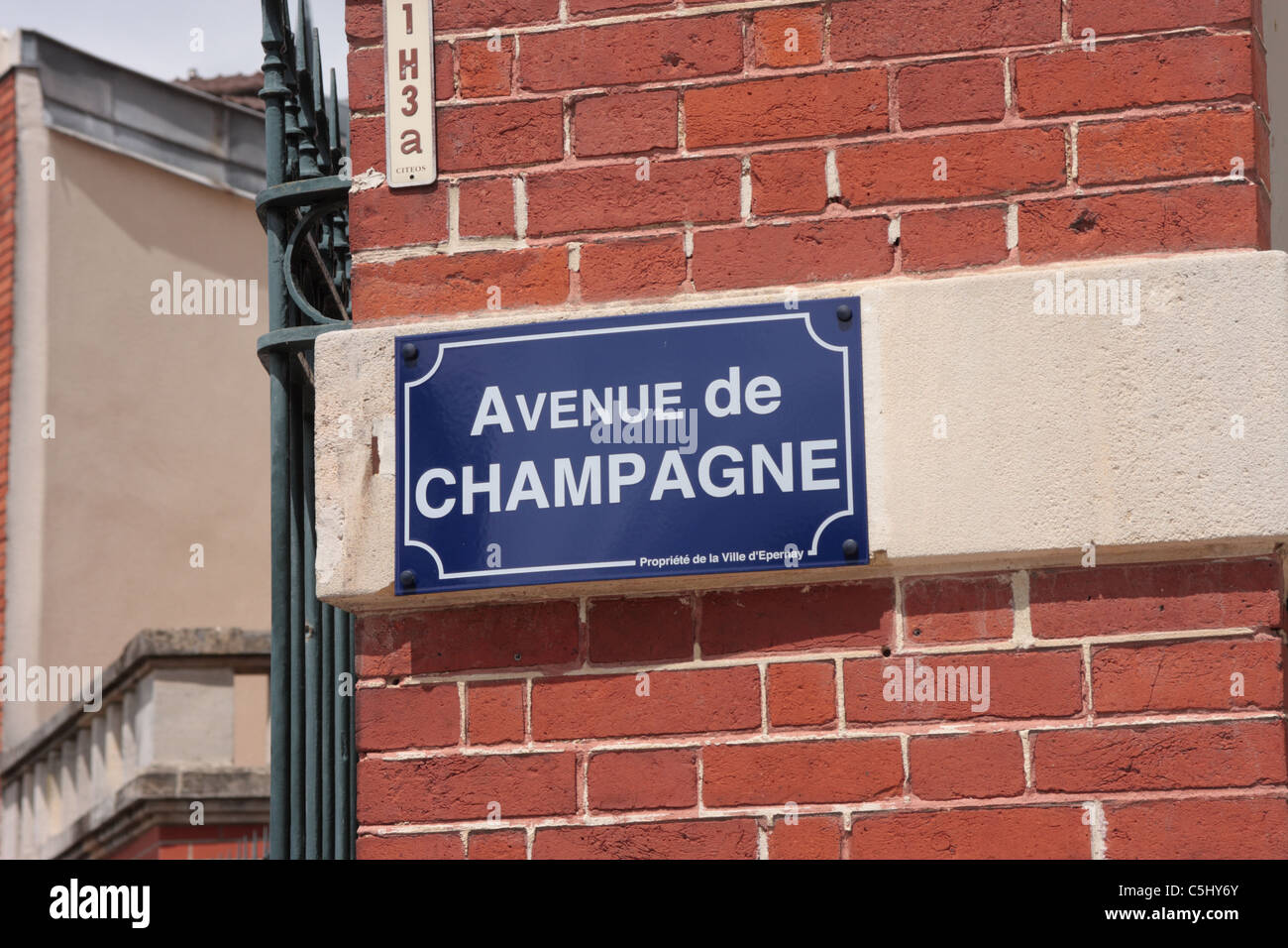 Road name sign of the Avenue de Champagne Epernay France - Stock Image
