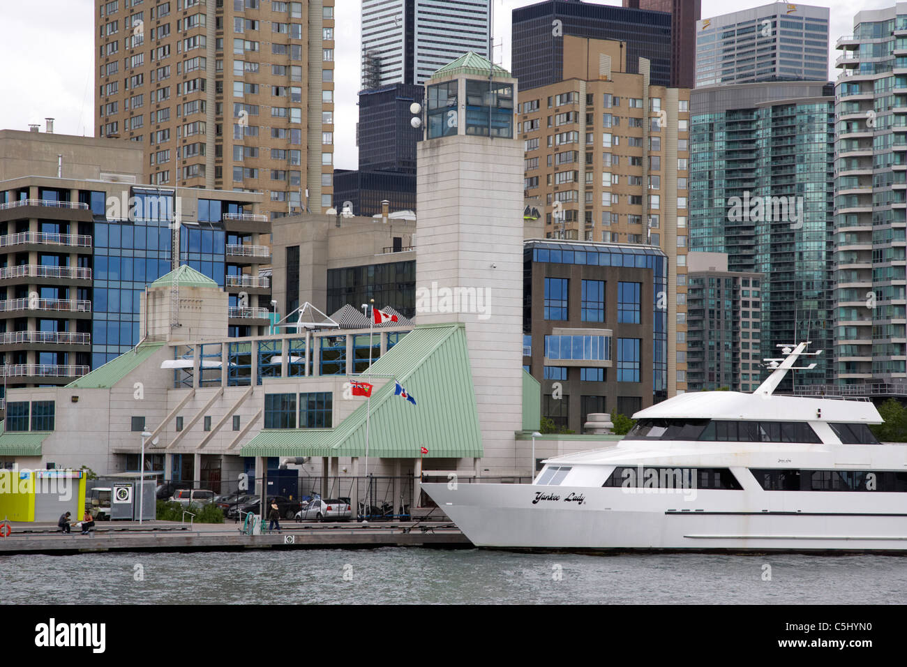 luxury yacht outside toronto police marine unit harbourfront toronto ontario canada - Stock Image