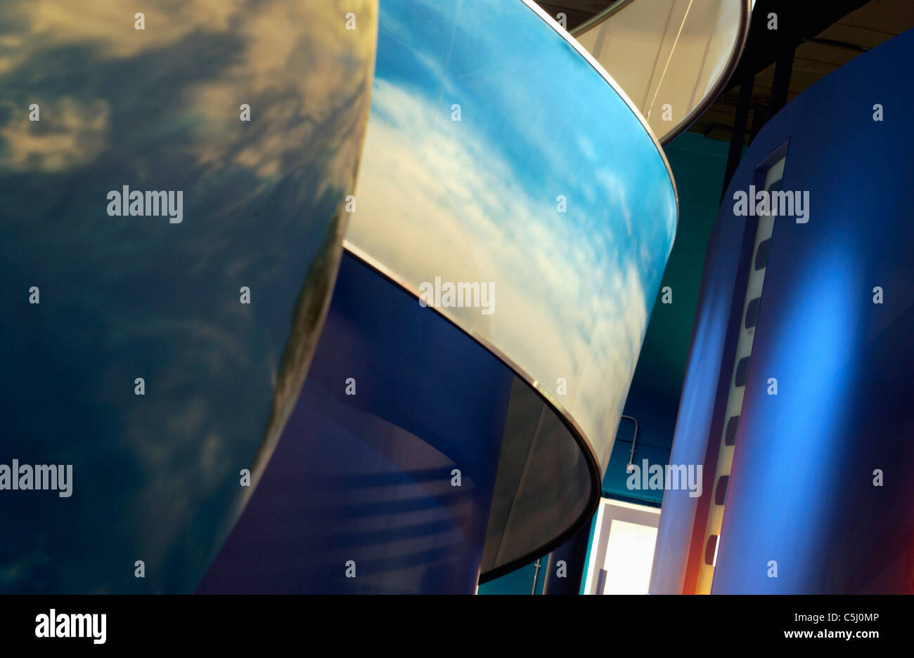 Columns with imagery on in abstract forms Stock Photo