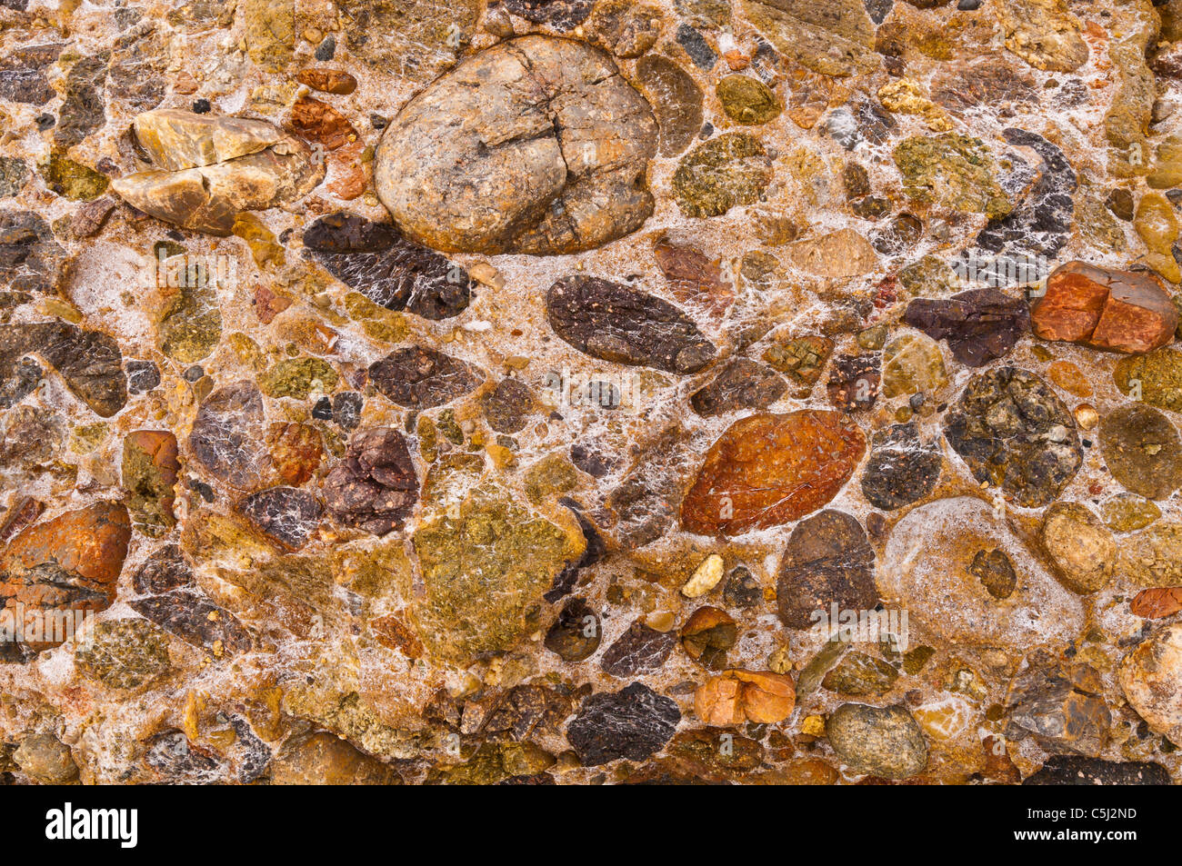 Rock patterns on Weston Beach, Point Lobos State Reserve, Carmel, California - Stock Image