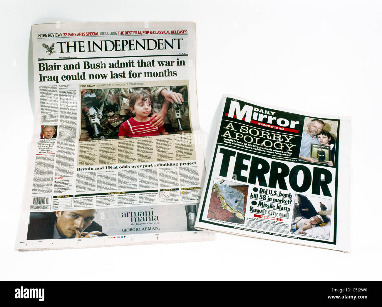 Newspapers Tabloid & Broadsheet Independent & Mirror Gulf War - Stock Image