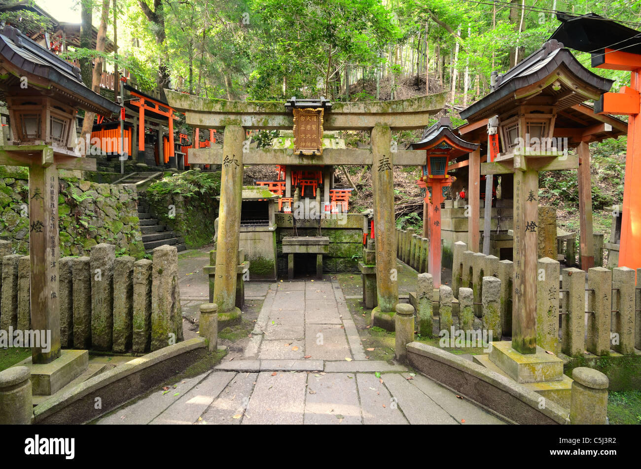 Small sub-shrine at Fushimi Inari Shrine in Kyoto, Japan. Stock Photo