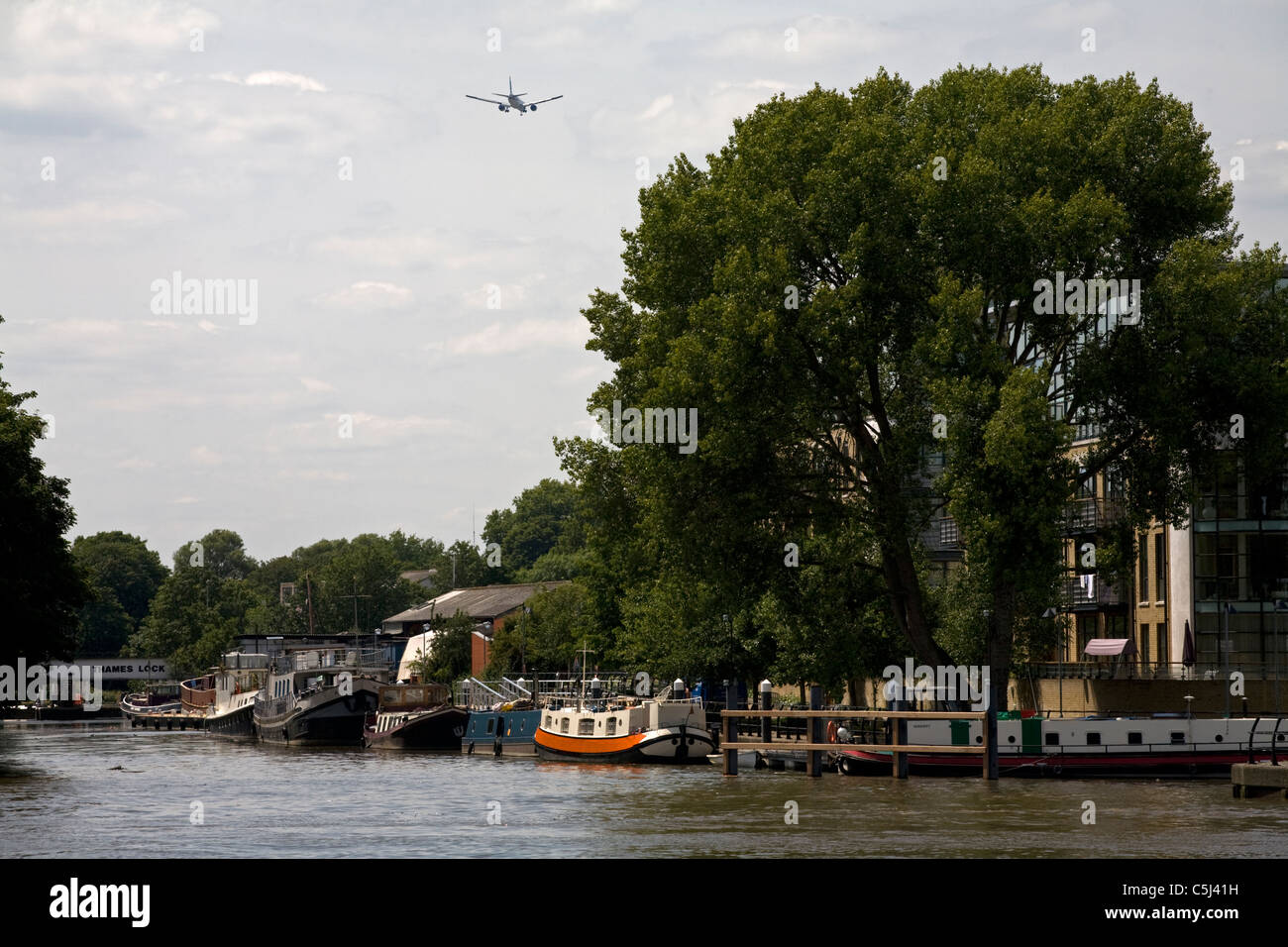 confluence of river thames and river brent brentford london england - Stock Image