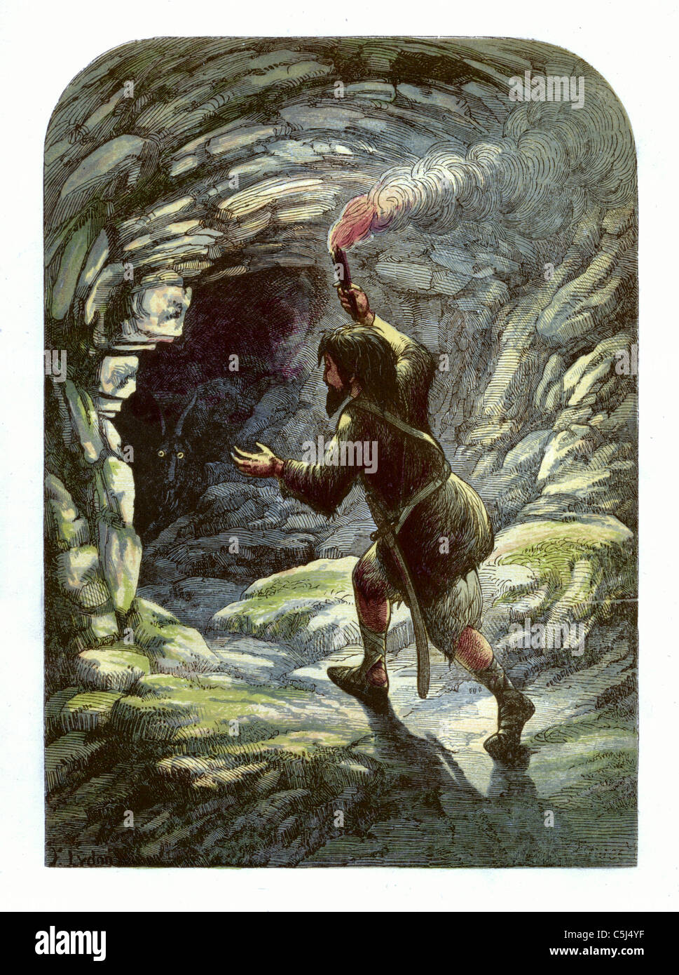 'Robinson Crusoe frightened by a goat in a cave'  Robinson Crusoe illustration from 1865 - Daniel Defoe, - Stock Image