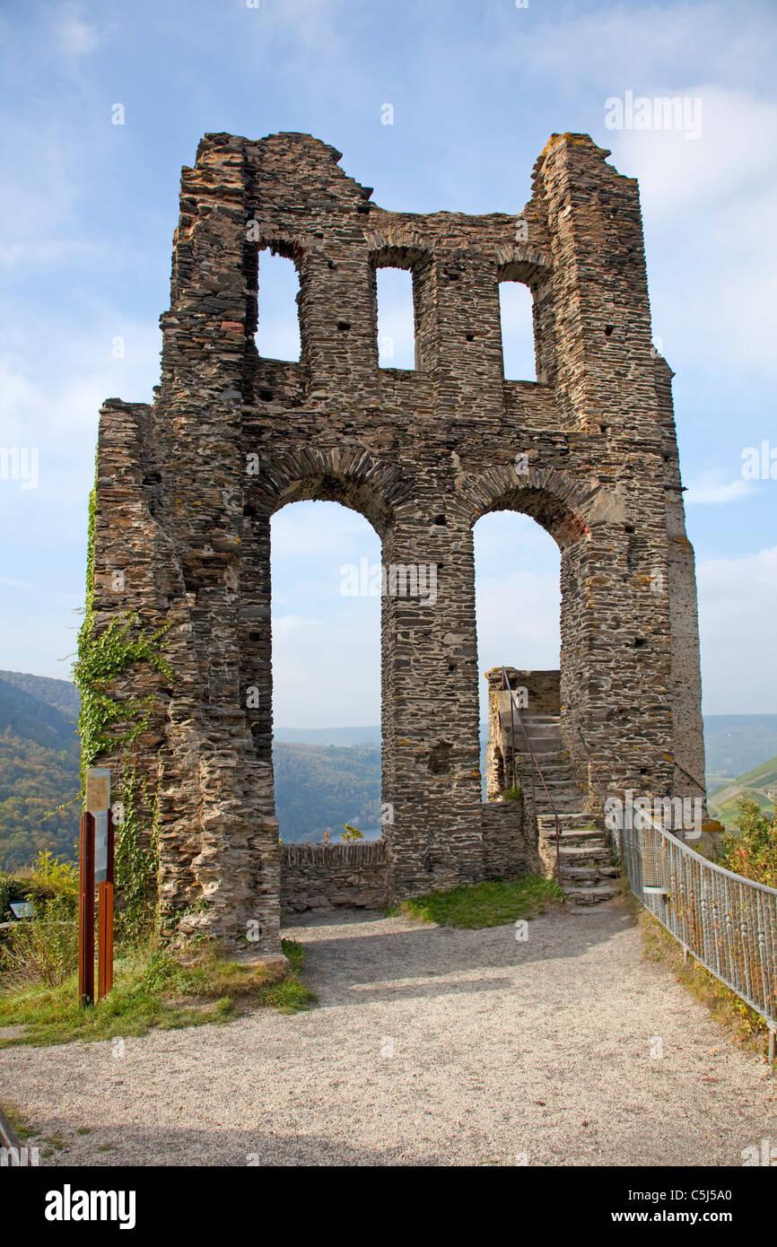 Grevenburg, Ruine ueber Traben-Trarbach, Mosel, Grevenburg, ruin, Greven castle, above, Traben-Trarbach, Moselle Stock Photo