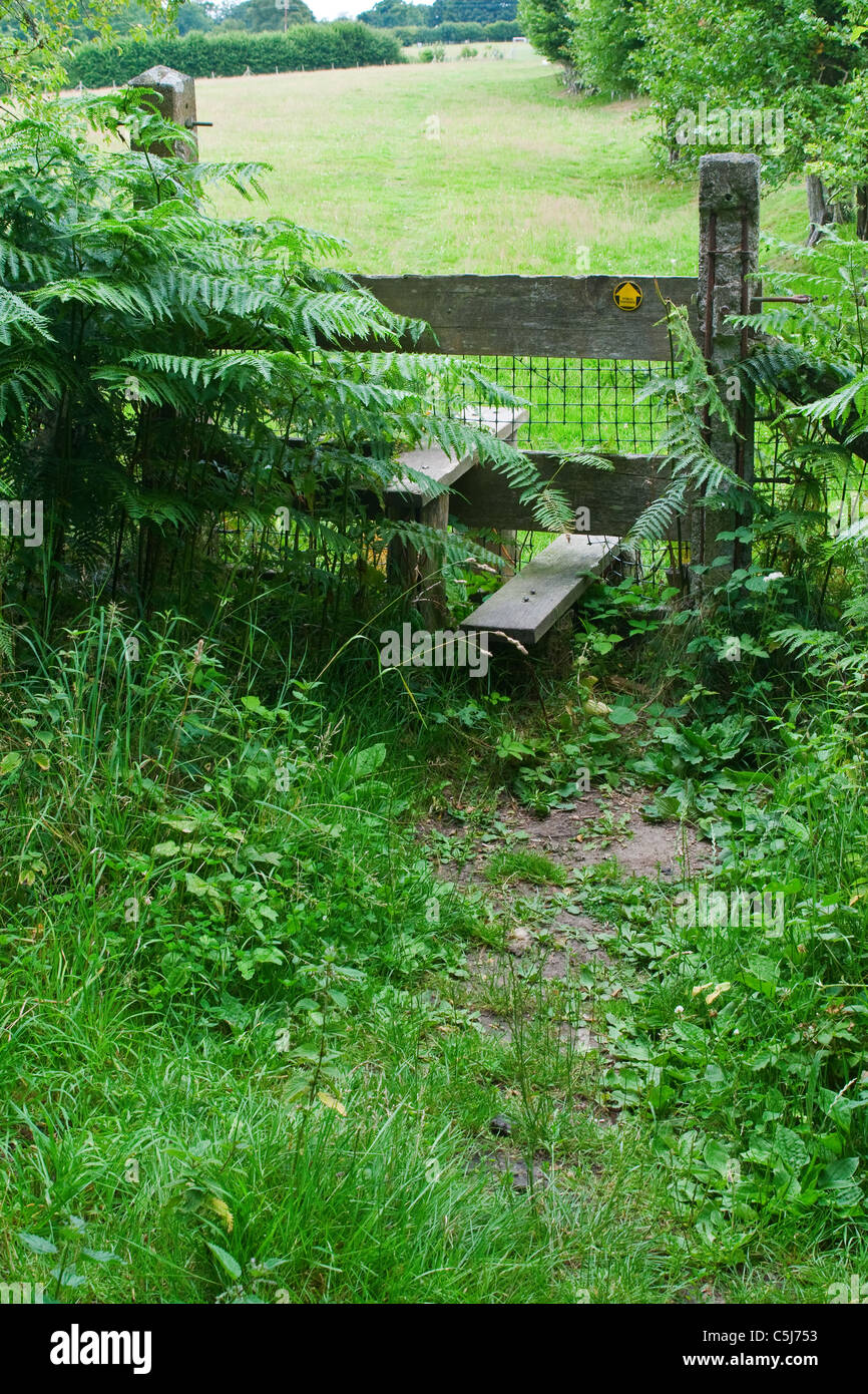 Country stile, public footpath, right of way - Stock Image