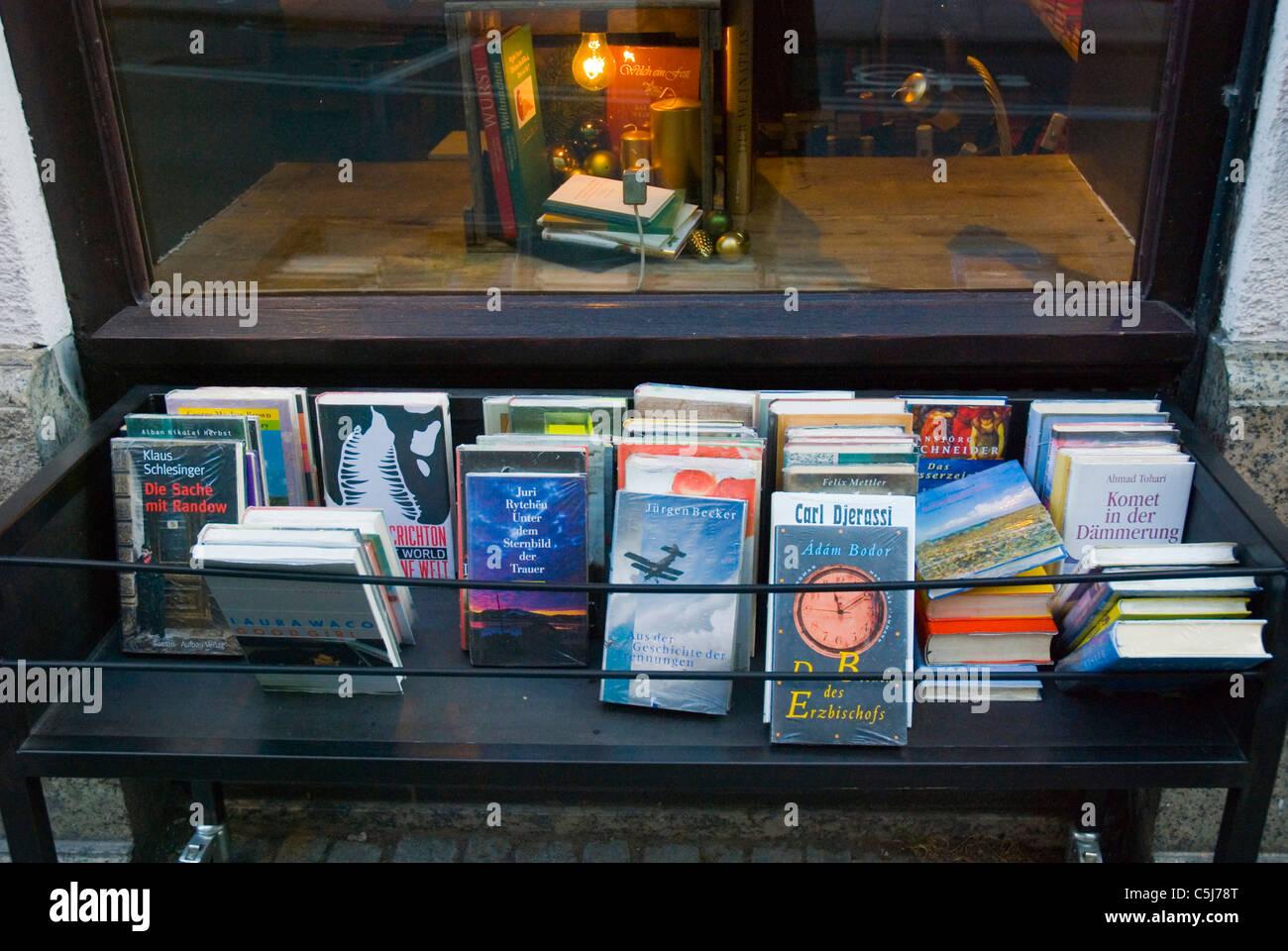 Outside 2nd hand bookshop Burgstrasse old town Munich Bavaria Germany Europe - Stock Image