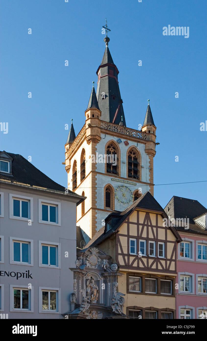 Marktkirche St. Gangolph, am Hauptmarkt von Trier, Market church, Saint, Gangolph, at the main market of Trier - Stock Image