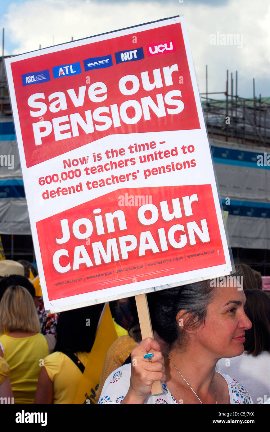 National Union of Teachers striking during protest against public sector cuts, Southampton, Hampshire, UK, 30 June - Stock Image