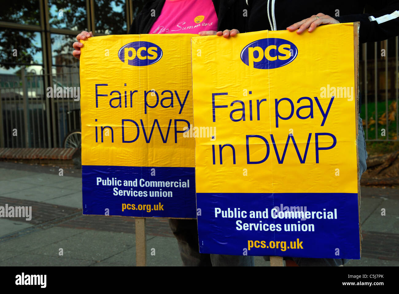 PCS placards on picket line during strikes against public sector cuts, Southampton, Hampshire, UK. 30 June 2011. - Stock Image