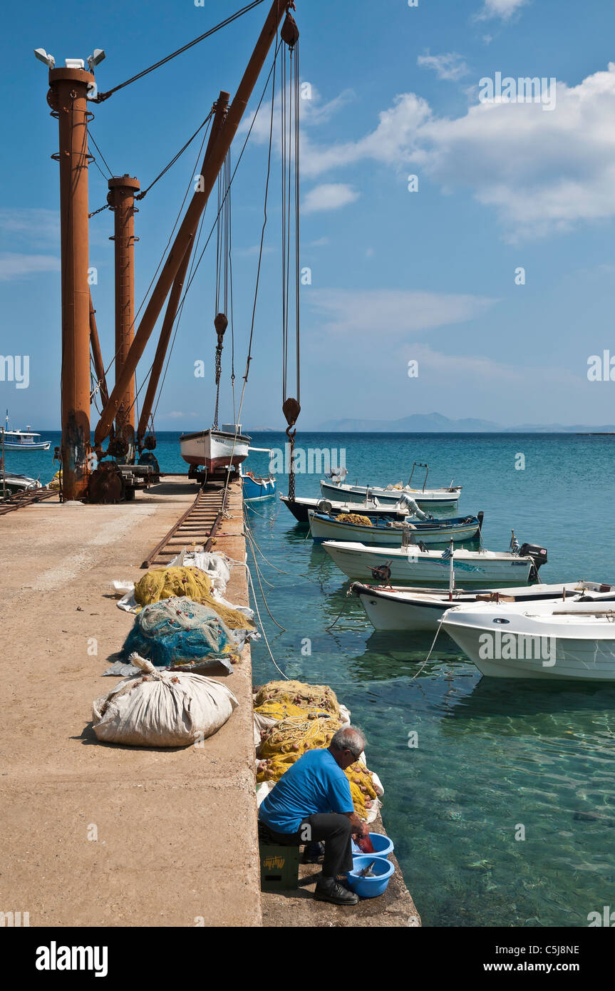 Crains on the quay at the little village of Moutsouna once used for loading emery from the nearby mines, Naxos, - Stock Image