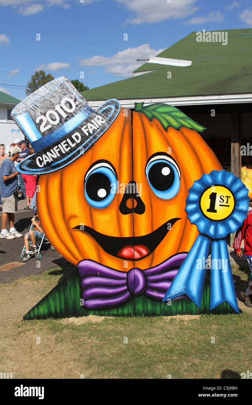 Pumpkin Faces. Canfield Fair. Mahoning County Fair. Canfield, Ohio, USA. - Stock Image