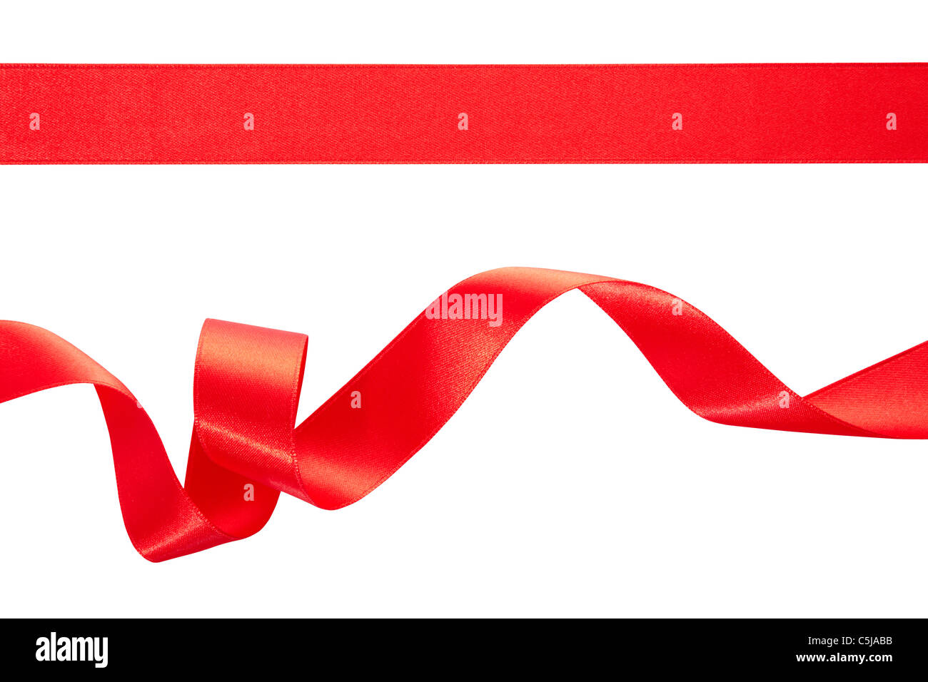 Red ribbon isolated on white - Stock Image