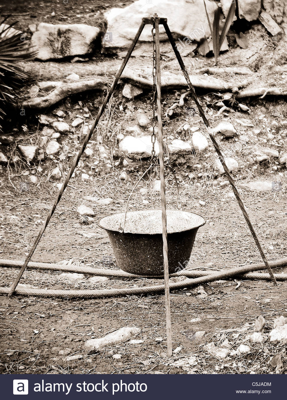 Camping equipment used by explorer Kypros in Africa - cooking tripod Stock Photo