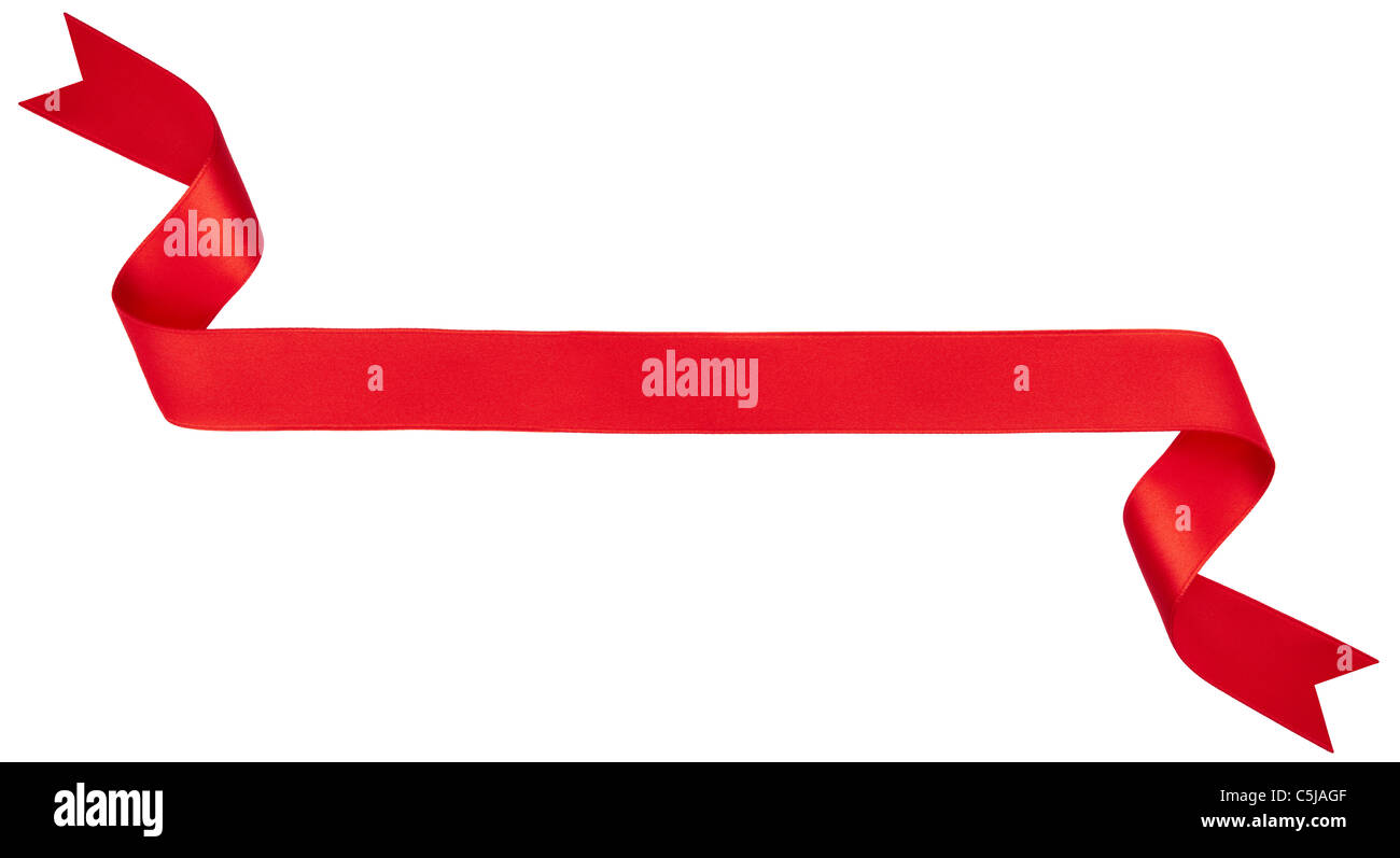 Red ribbon banner isolated on white - Stock Image