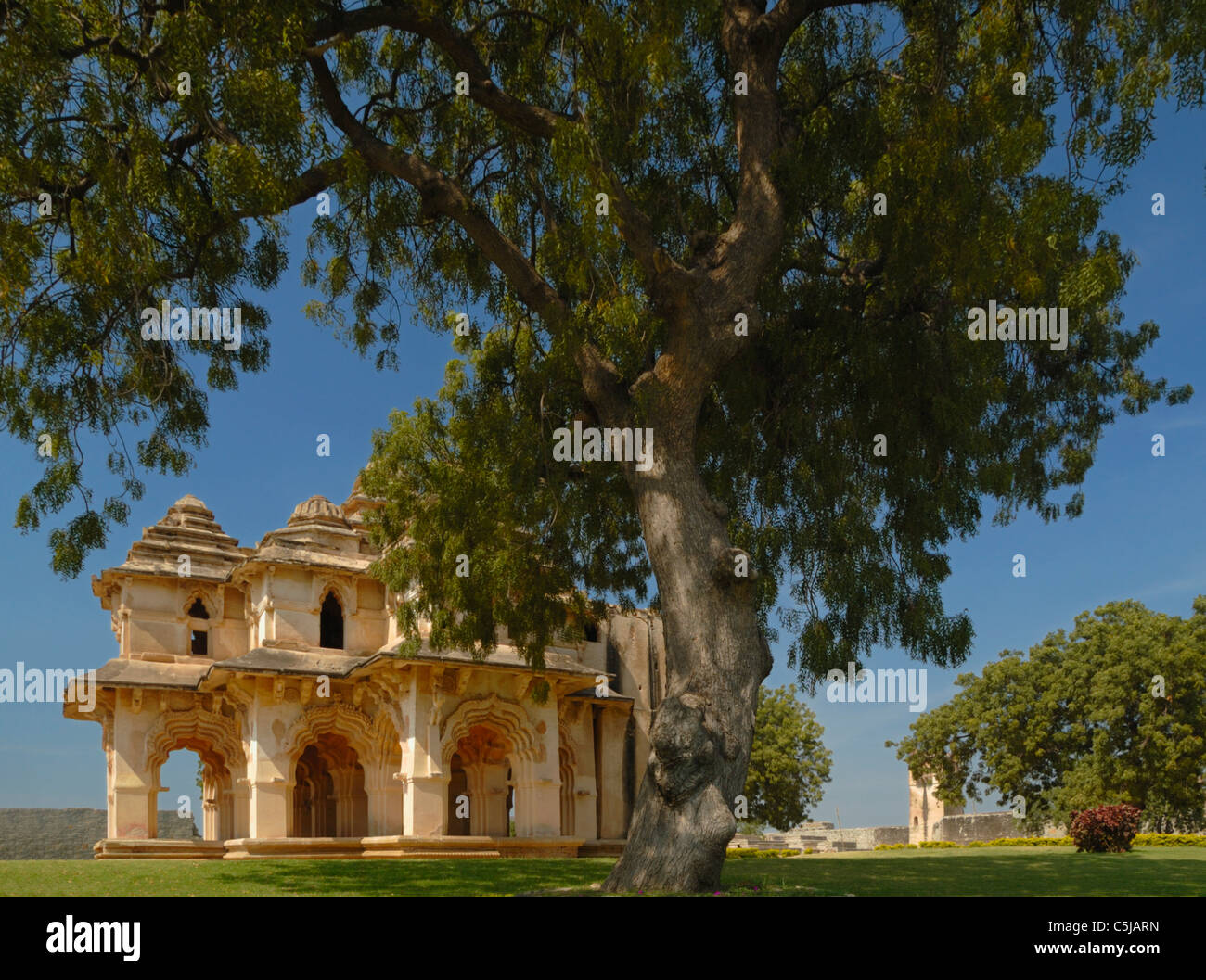 The two storeyed Lotus Mahal with recessed archways is one of the major attractions within the World Heritage Site - Stock Image