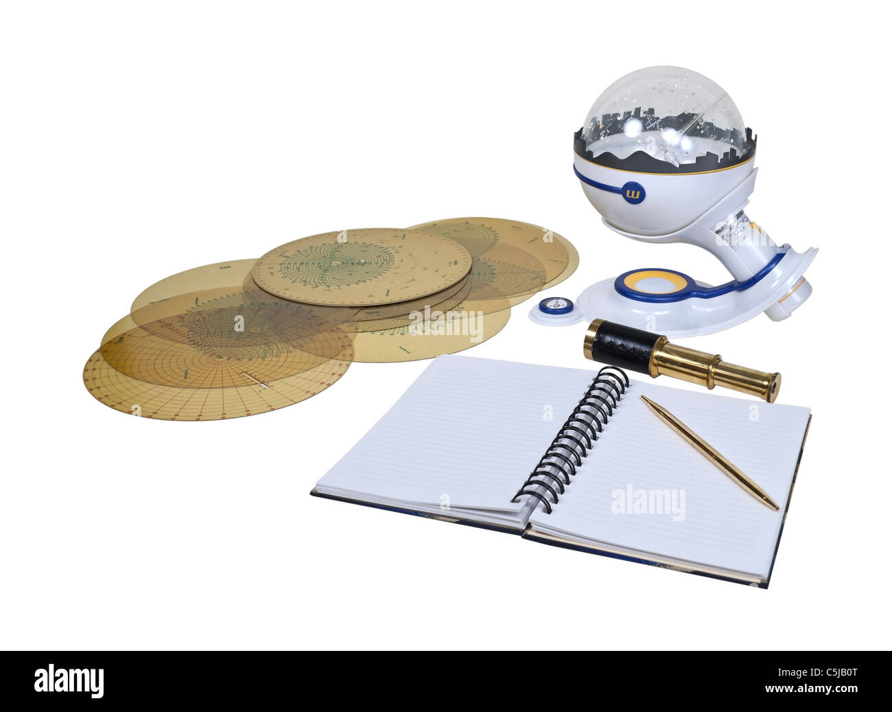 Charting the skies with a planetarium, telescope, and star maps and note paper - path included - Stock Image