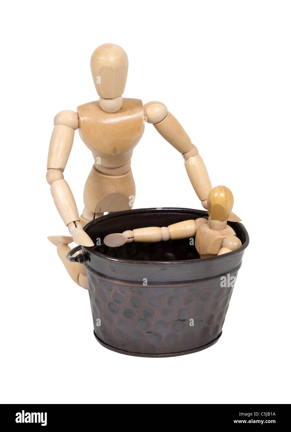 Evening child bath time in a large tub - path included - Stock Image
