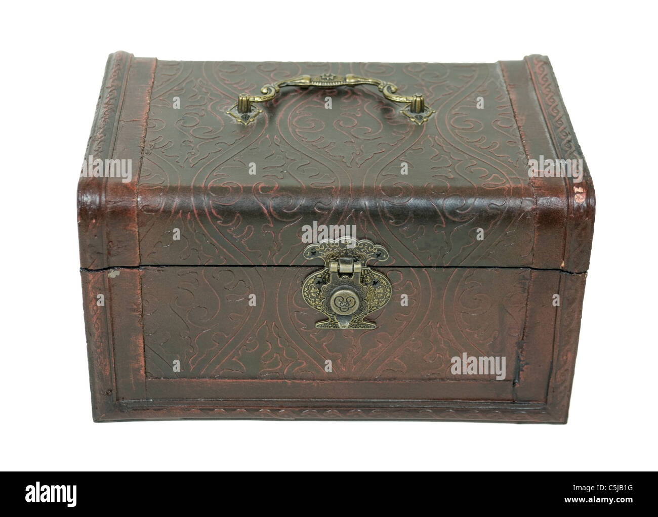 Fancy pressed leather box with antique lock used to store items - path included - Stock Image