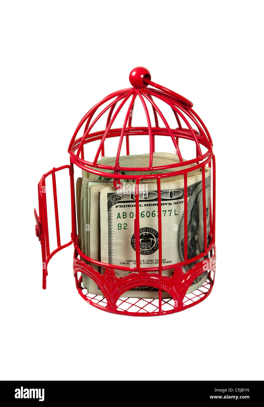 Funds to take flight shown by a birdcage with an open door - path included - Stock Image