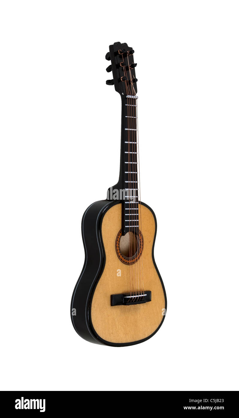 Classical wooden Guitar for playing music with friends - path included - Stock Image