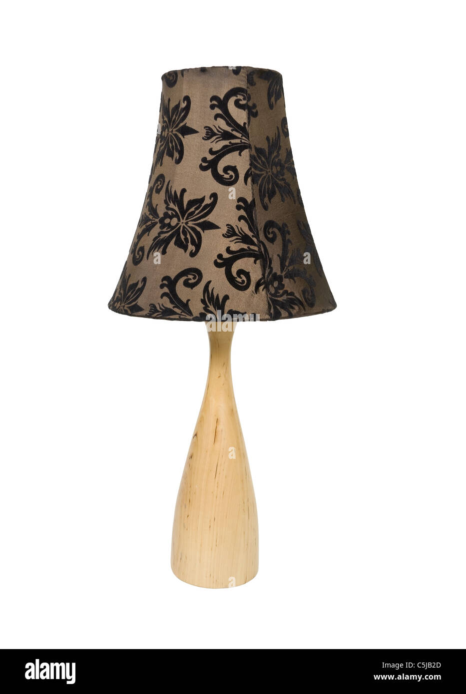 Leafy and swirled patterned lamp shade giving a plain appliance and updated look - path included - Stock Image