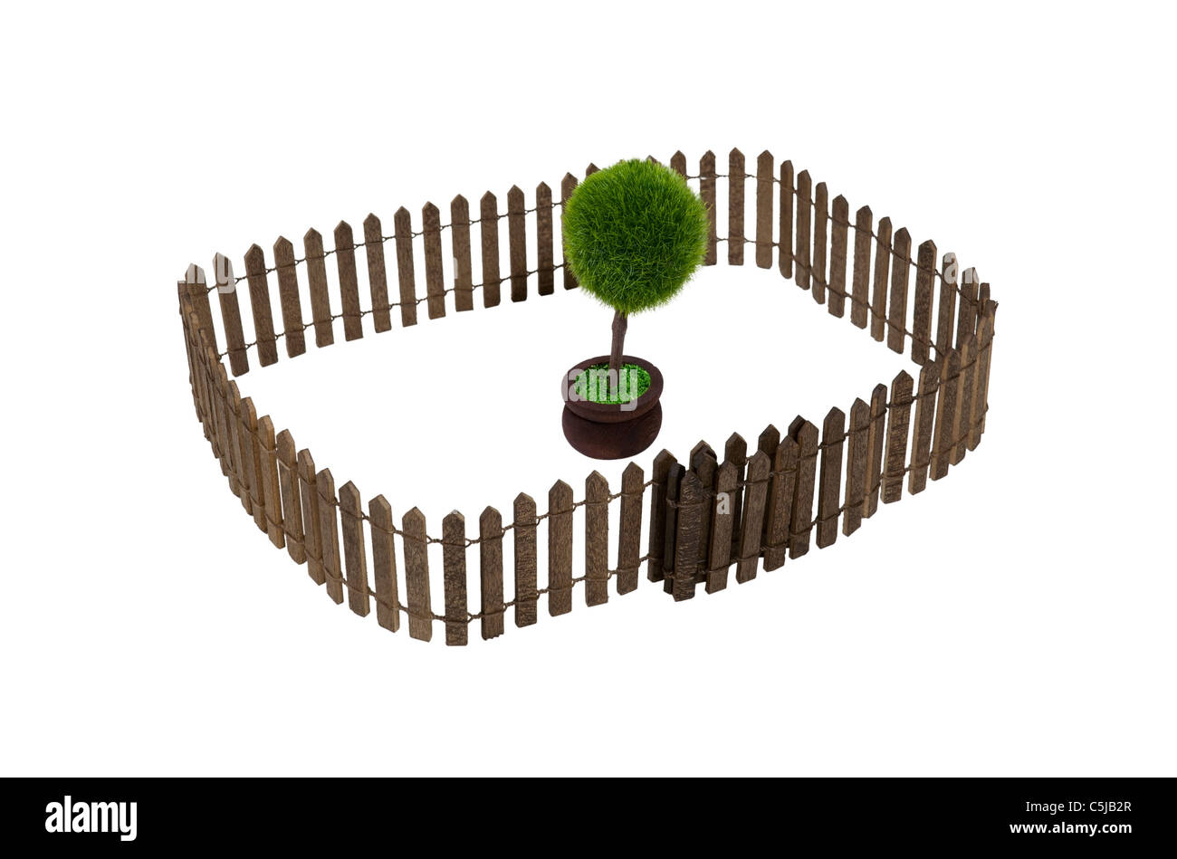 Nature preserved shown by a potted tree in a yard surrounded by a fence - path included - Stock Image