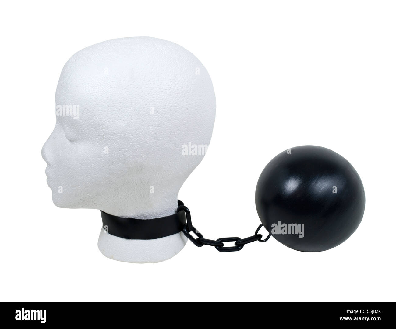 Overcoming struggles shown by a model head with a ball and chain around the neck - path included - Stock Image