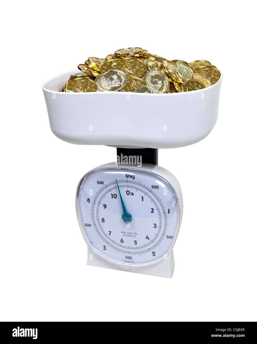 Basket scale used to weigh items full of gold coins - path included - Stock Image