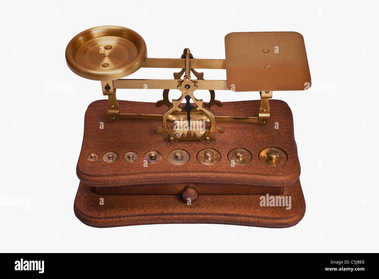 Detailansicht einer alten Briefwaage | Detail photo of a old letter balance - Stock Image