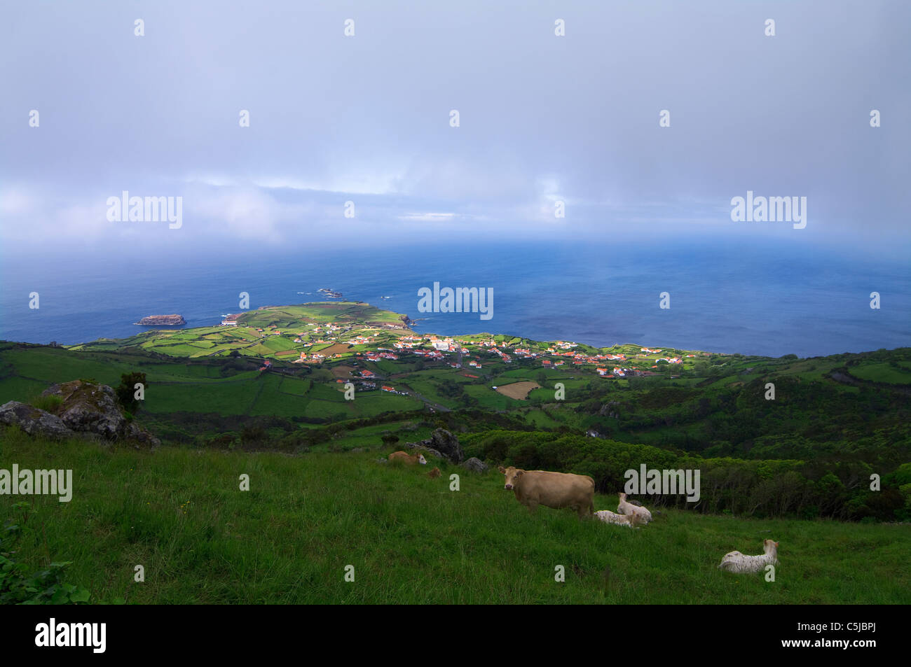 Mystical landscape in Flores island, in the Azores. - Stock Image