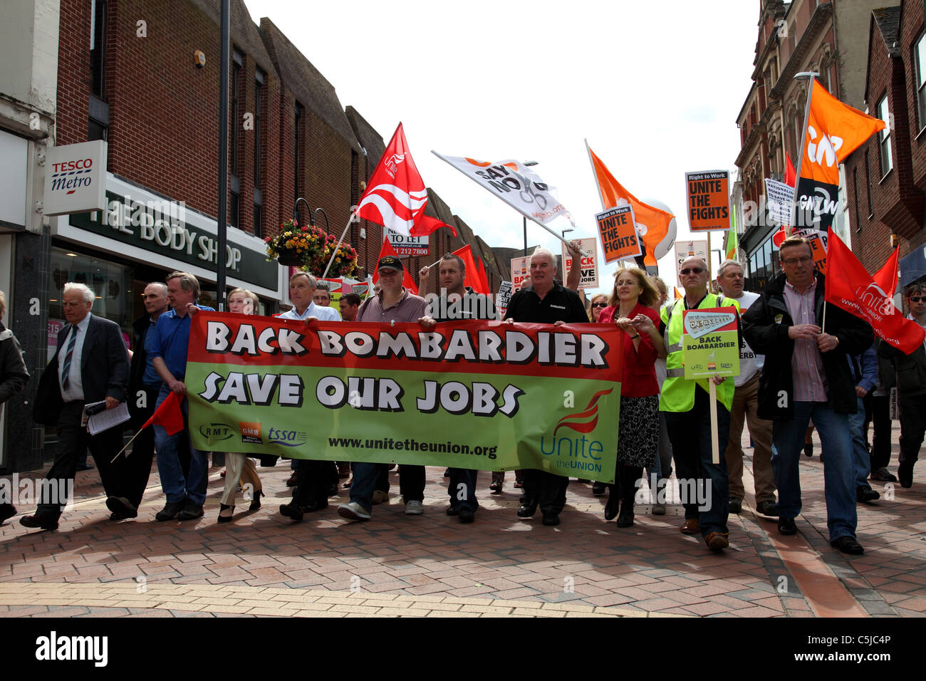 A demonstration in Derby supporting Derby based Bombardier after the Thames Link train building contract was awarded - Stock Image