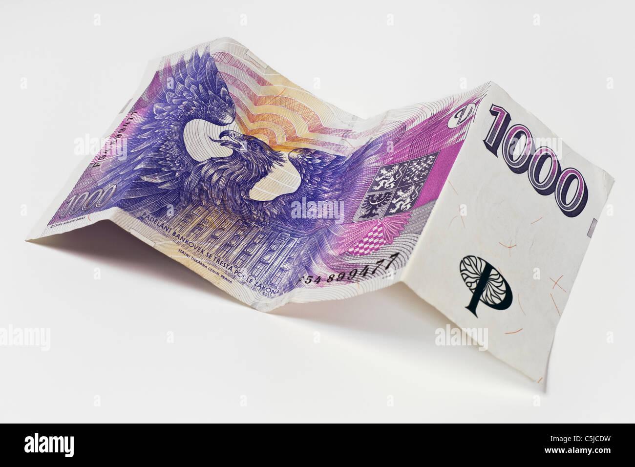 Rückseite einer tschechischen 1000 Kronen Banknote | back side of a czech 1000 koruna Banknote Stock Photo