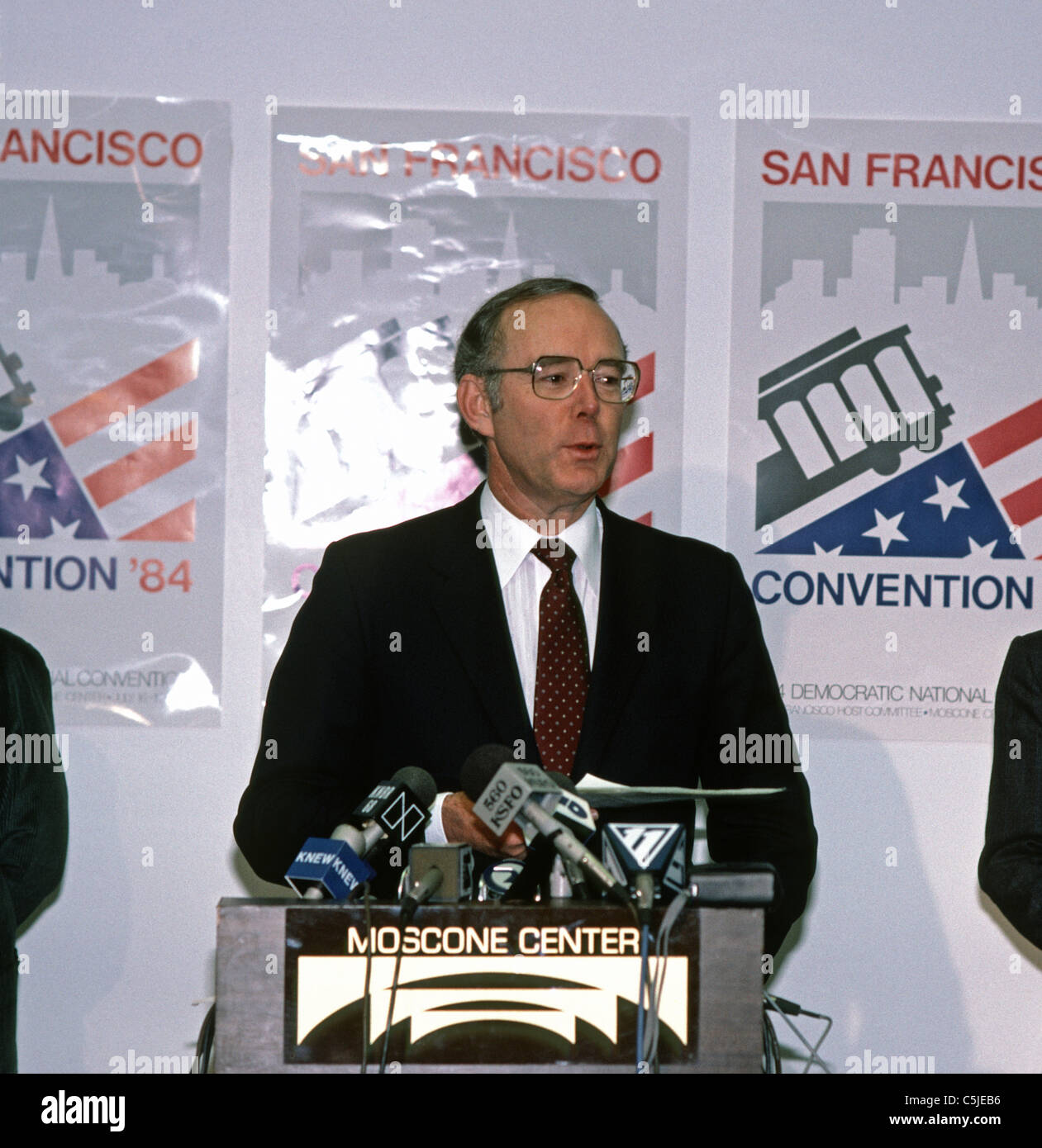 Democratic Party National Chairman, Charles T. Manatt, at the Democratic convention in San Francisco, California, - Stock Image