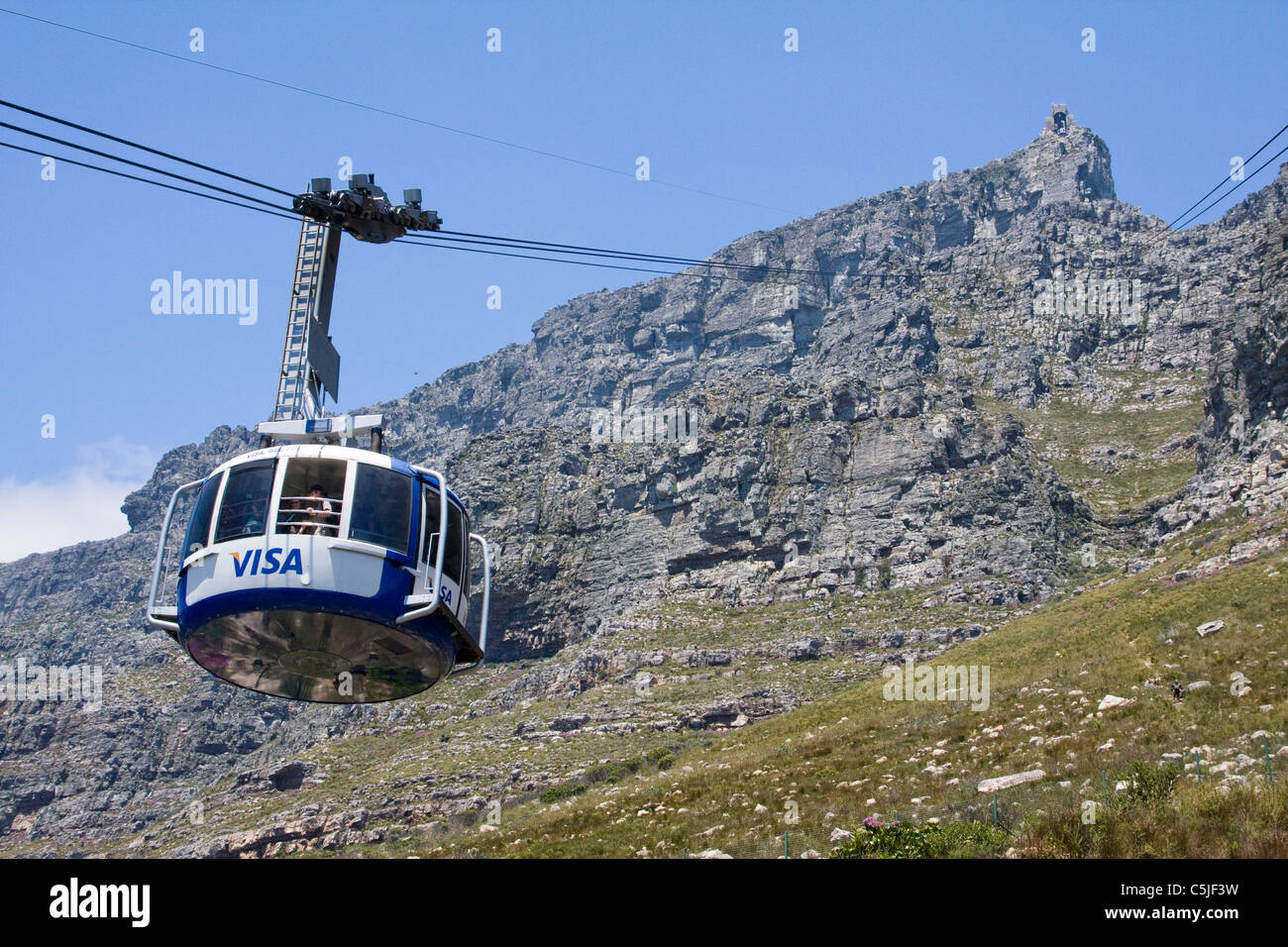 Cable way to table Top Mountain - Stock Image