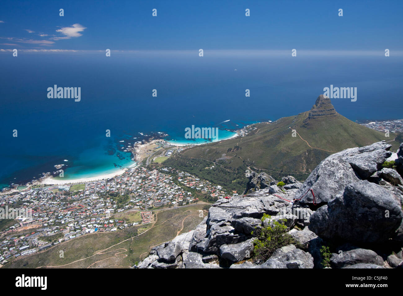 Camps Bay and Lions head seen from table top mountain - Stock Image
