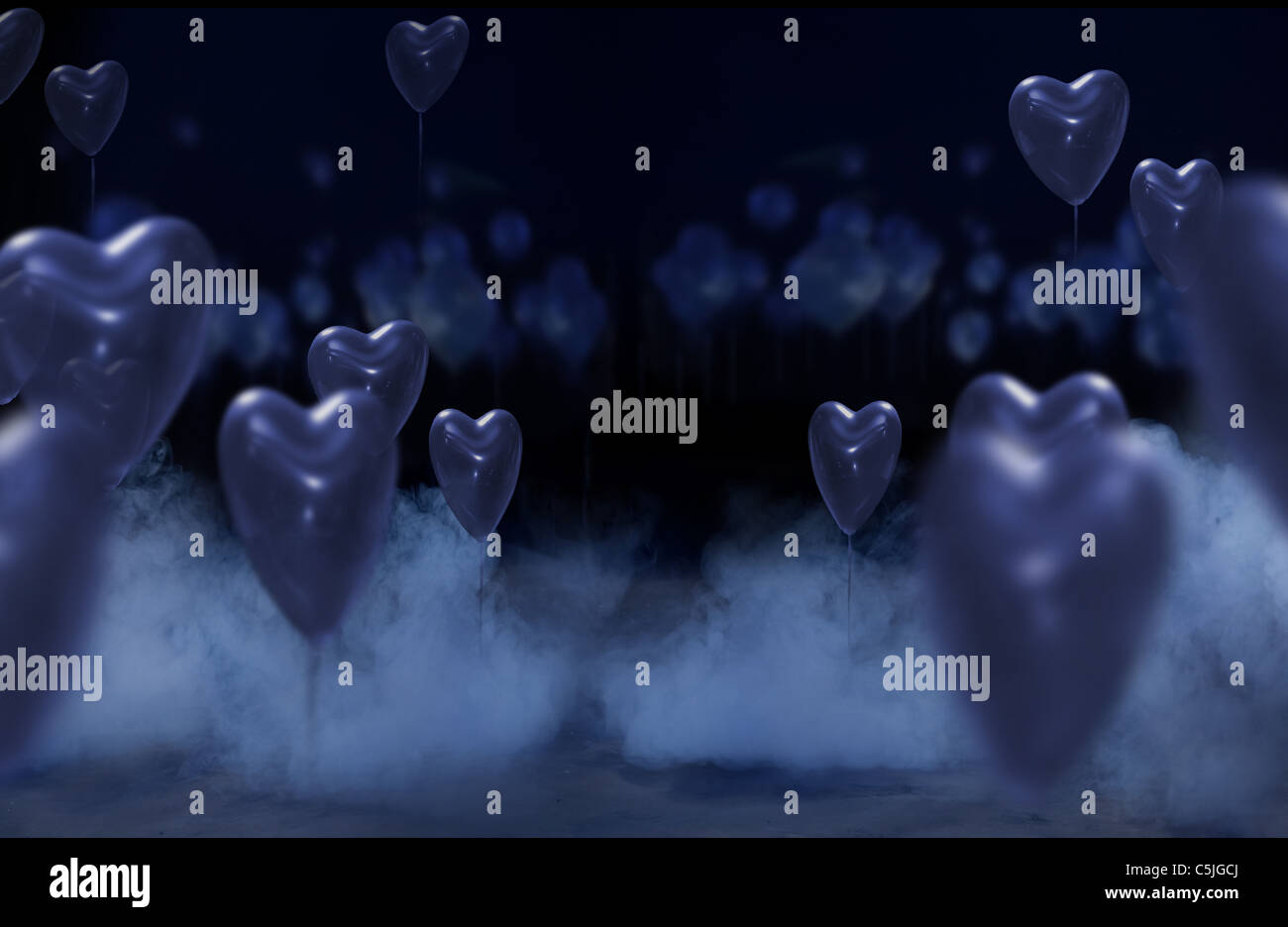 Studio background with hearts - Stock Image