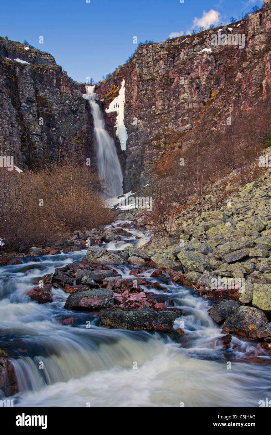 Njupeskär, the highest waterfall in Sweden, Fulufjället National Park, Dalarna, Sweden - Stock Image