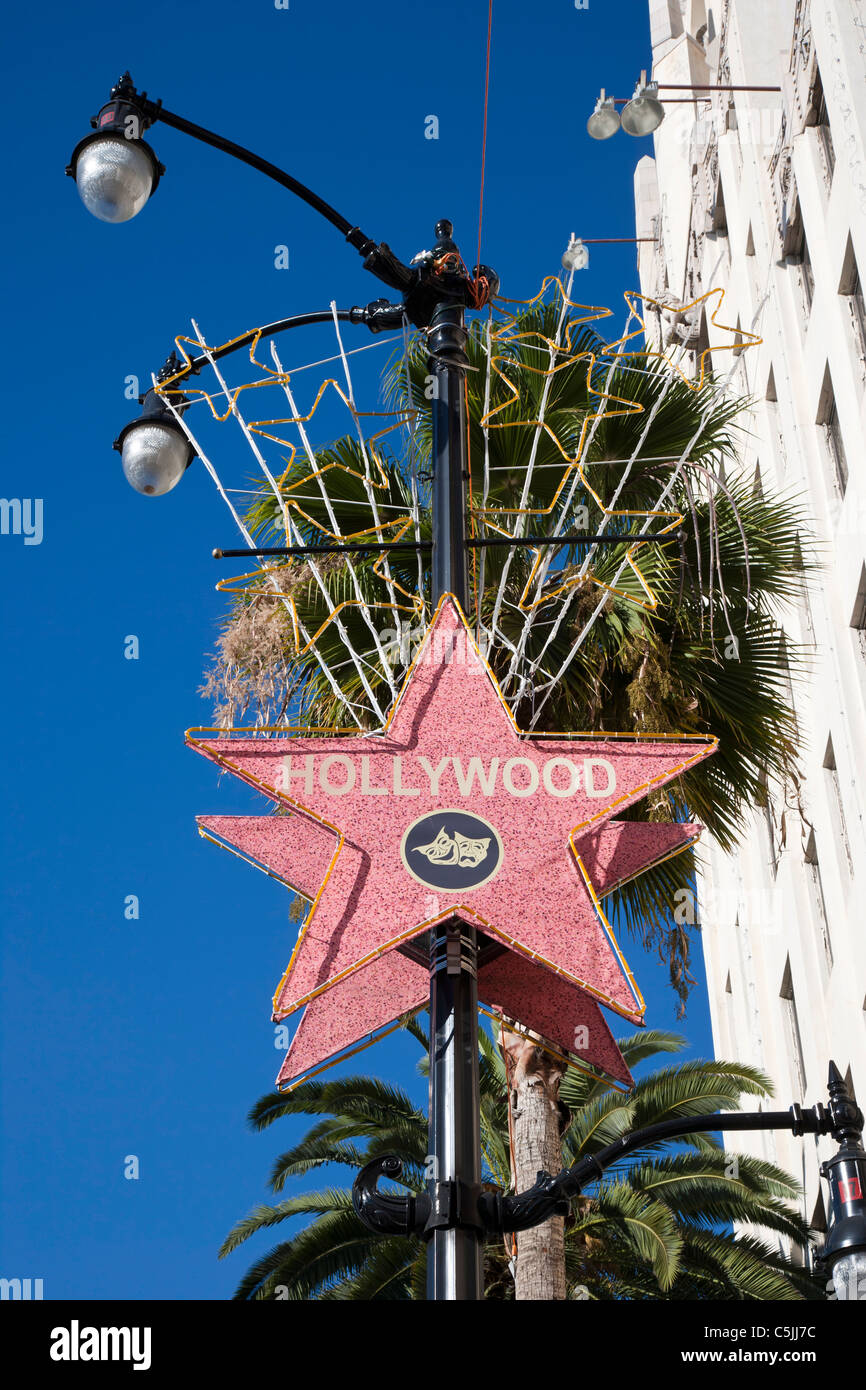 Hollywood street sign in Hollywood, Los Angeles, California, USA - Stock Image