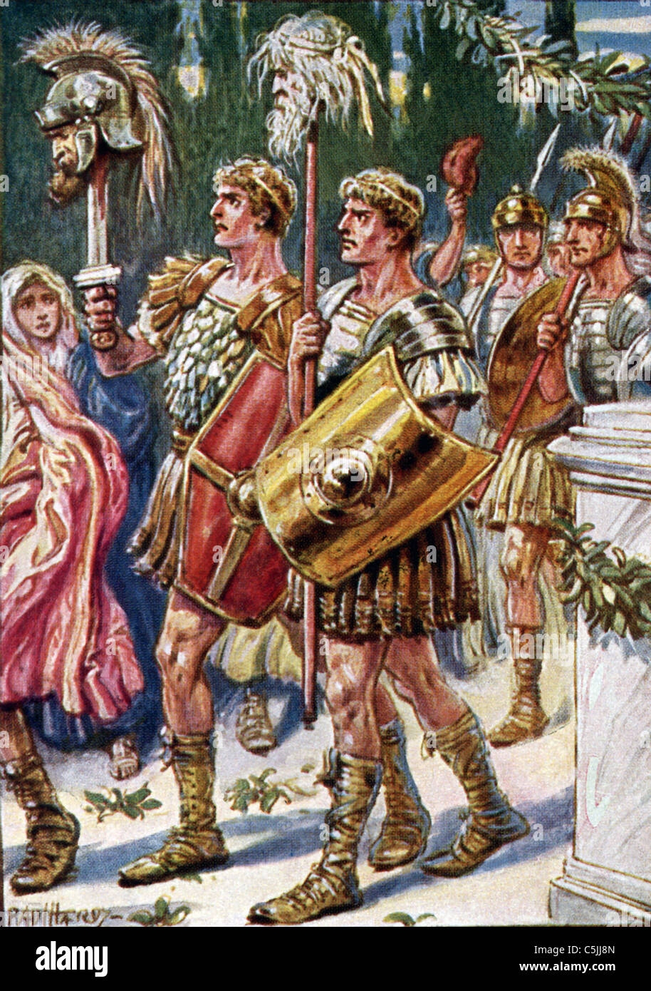 Romulus who is on the left here has Amulius' head on the pike. On the right is Remus with the pontiff Camers' - Stock Image