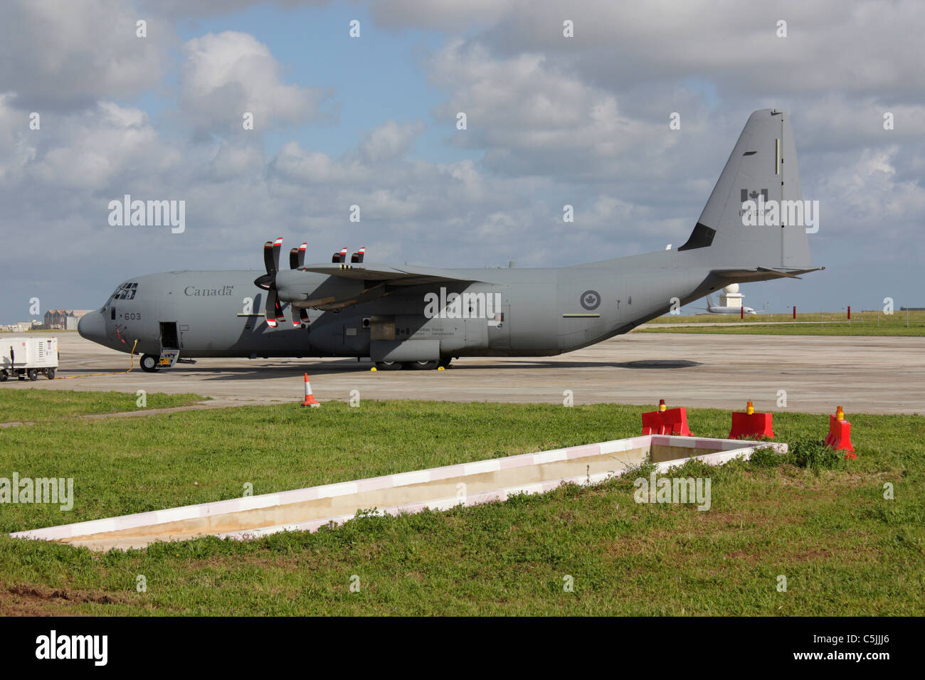 Lockheed Martin C-130J-30 Hercules military transport plane of the Canadian Armed Forces parked in Malta - Stock Image