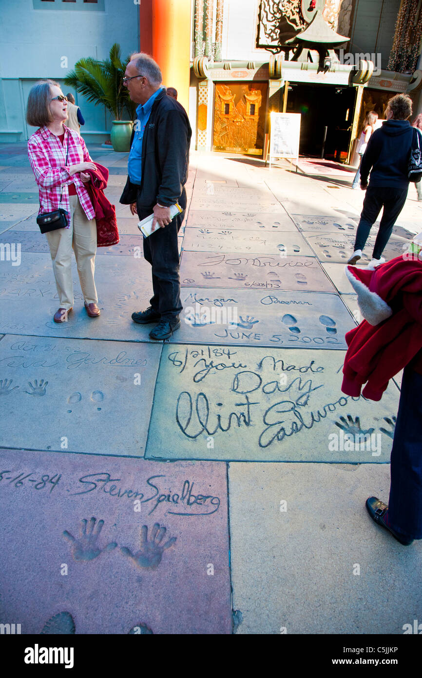 Stars hand and foot prints at Grauman's Chinese Theatre, Hollywood, Los Angeles, California, USA - Stock Image