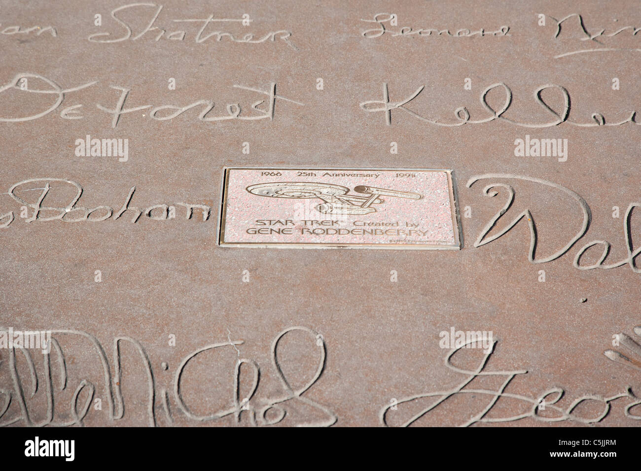 Star Trek stars hand and foot prints at Grauman's Chinese Theatre, Hollywood, Los Angeles, California, USA - Stock Image