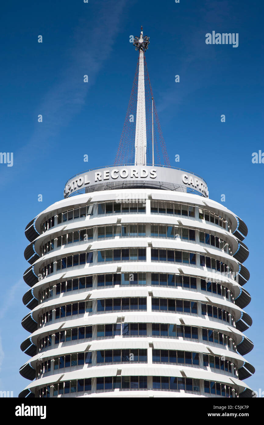 Capitol records building in Hollywood, Los Angeles, California, USA - Stock Image