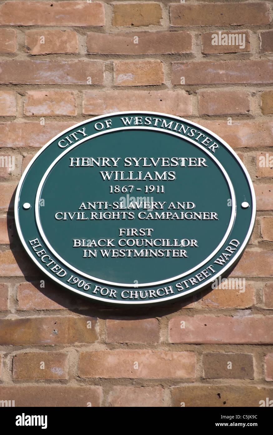 westminster council plaque marking a home of henry sylvester williams in paddington, london, england - Stock Image