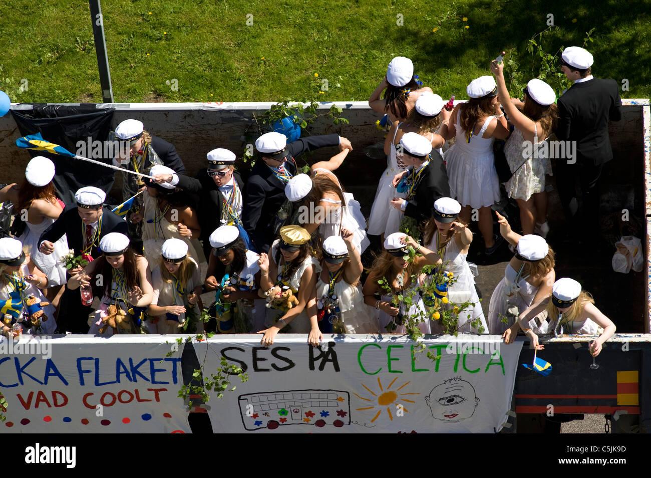 Student celebration in Sweden - Stock Image