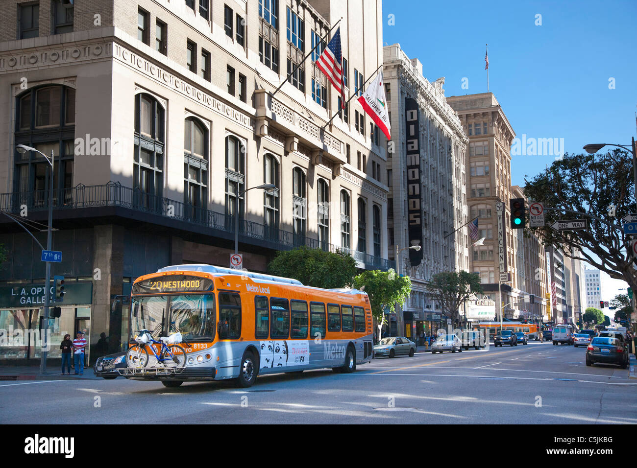 Public transport bus in Downtown, Los Angeles, California, USA - Stock Image